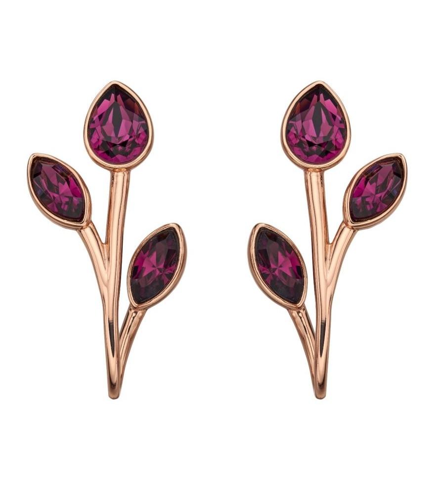 Orecchini Rosa Cristalli Swarovski Color Con Ametista CorBedx