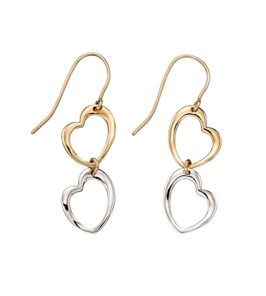 negozio online e493d c6c7d Orecchini a forma di cuore in oro bianco e rosa